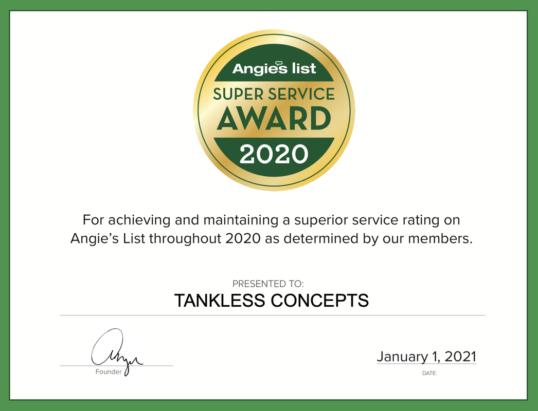 Tankless Concepts 2020 Angie's List Super Service Award