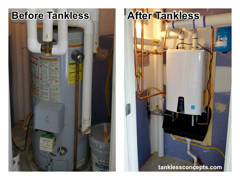 Before and After installing a Navien Tankless Water Heater